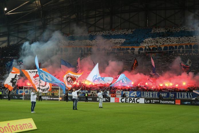 Fans van Olympique Marseille voor de Franse klassieker tegen PSG van afgelopen zondag.