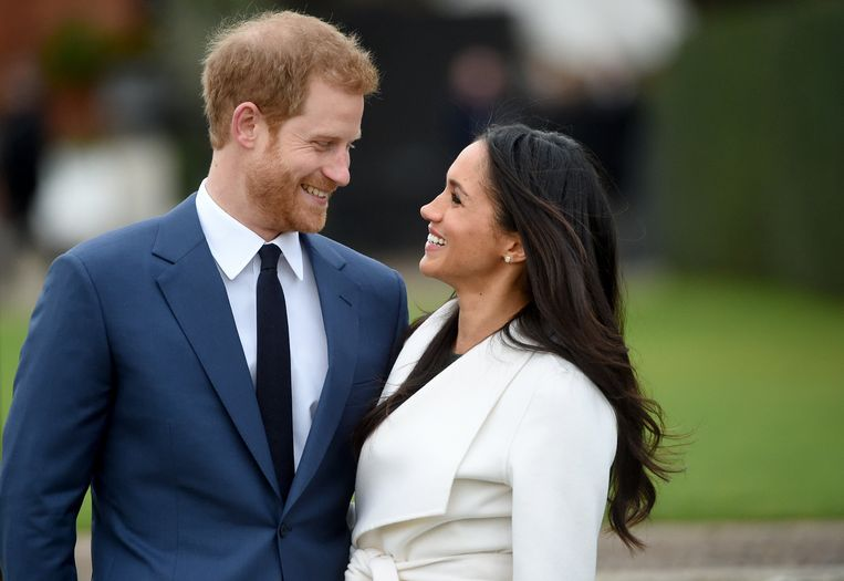 Prins Harry en Meghan Markle na hun verloving in november 2017. Beeld EPA