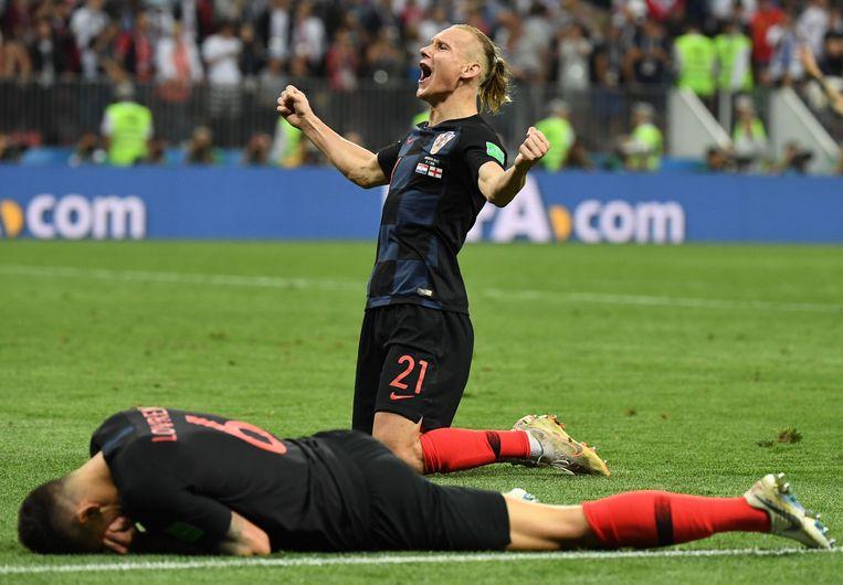 Vida juicht na het behalen van de WK-finale ten koste van Engeland