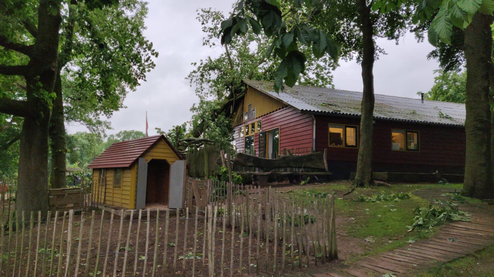 Het dak van Kinderboerderij De Goffert is flink beschadigd door een omgevallen boom.