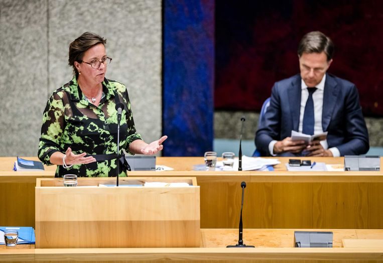 Tamara van Ark, minister voor Medische Zorg, woensdag tijdens het debat over de ontwikkelingen rond het coronavirus. Beeld Remko de Waal / ANP