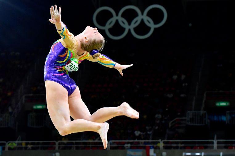 Gaëlle Mys aan het werk tijdens de Olympische Spelen in 2016 in Rio.