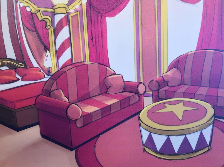 Alle kamers in het Plopsahotel krijgen een Studio 100-thema. Hier de Bumbakamer.