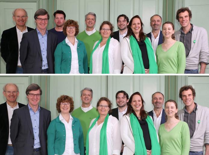 De kandidaten van D66 voor en na het verwijderen van Živković, derde van links op de bovenste foto.
