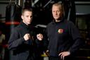 Robbie Hageman (links) op 16-jarige leeftijd met de Bredase coach Cor Hemmers.