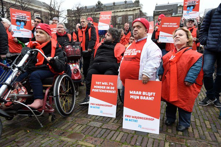 Wajongers voerden eind november samen met de FNV actie in Den Haag. Beeld Hollandse Hoogte / Peter Hilz