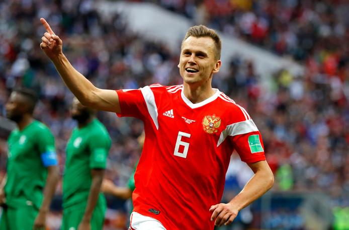 Denis Cheryshev viert zijn tweede treffer in het openingsduel van het WK.