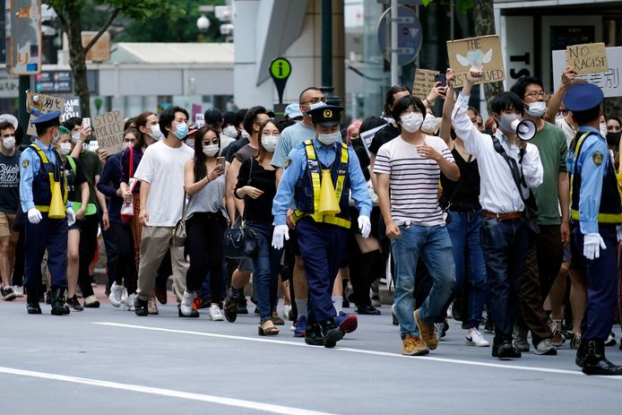 Demonstranten in de Japanse hoofdstad Tokio.