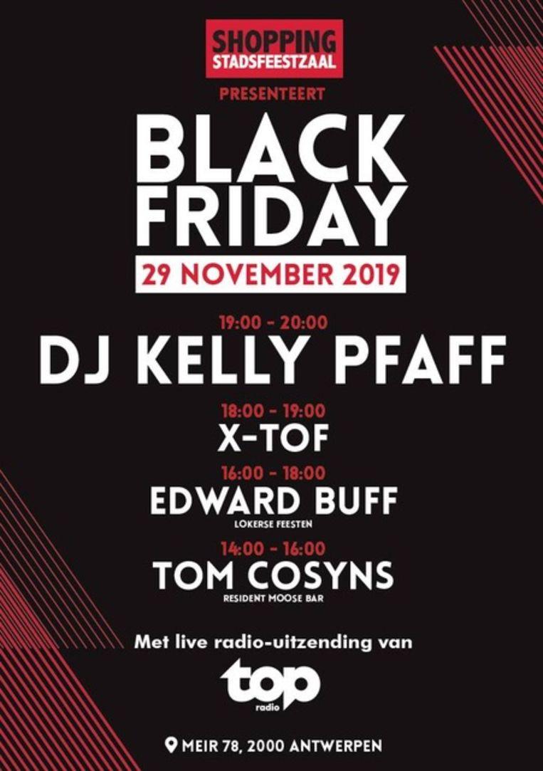 Antwerpse Stadsfeestzaal organiseert op Black Friday een gratis mini-festival met dj Kelly Pfaff.