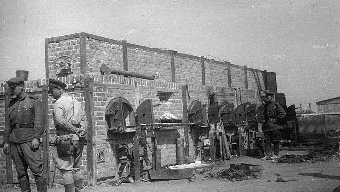 Russische soldaten bij de crematie-ovens van Madjanek, na de bevrijding van het kamp in 1944.