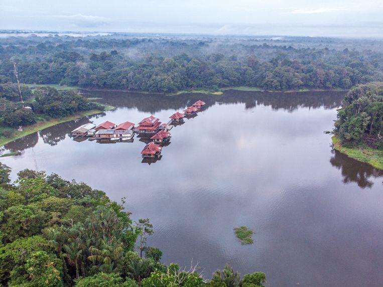 De lodges in het Mamirauà natuurpark in de Amazone. Beeld Noel van Bemmel