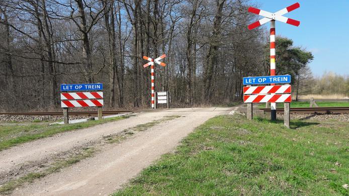 De spoorwegovergang in de Greversweg nu: alleen waarschuwingsborden.