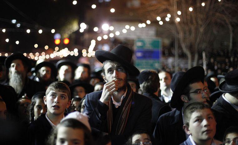 Ultra-orthodoxe joden, zondag bij een anti-verkiezingsbijeenkomst in de Jeruzalemse wijk Mea Shearim. Beeld getty