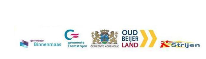 De oude logo's van de gemeente Binnenmaas, Cromstrijen, Korendijk, Oud-Beijerland en Strijen.