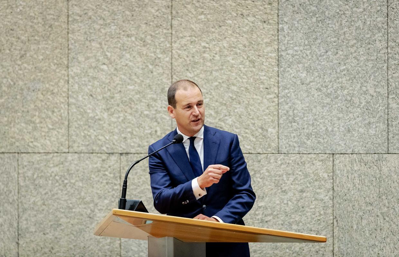 Lodewijk Asscher (PVDA) is in de Tweede Kamer aan het woord tijdens de Algemene Politieke Beschouwingen. Beeld ANP ROBIN VAN LONKHUIJSEN