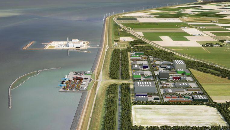 Een schets van hoe de Haven Flevokust eruit moet komen te zien. Het terrein, dat net als de Maximacentrale (boven in beeld) buitendijks ligt, wordt nu bouwrijp gemaakt Beeld -