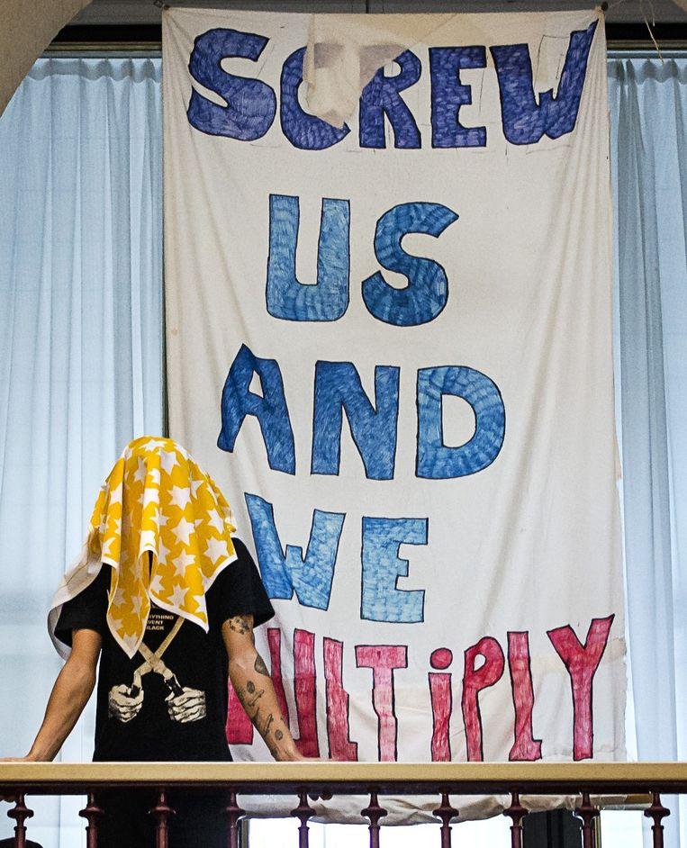 Engelstalig studentenprotest in het Maagdenhuis, 10 april. Beeld ANP