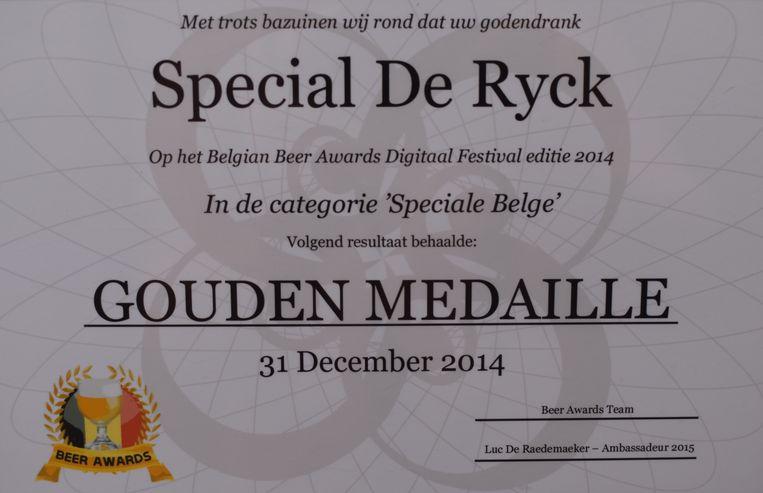 Het bier won ook al een gouden medaille in de categorie Speciale Belge.
