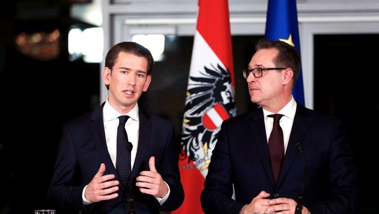 Kanselier Kurz (ÖVP) en vicekanselier Strache (FPÖ) van Oostenrijk Beeld null