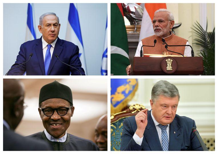 Boven (v.l.n.r.): De Israëlische eerste minister Benjamin Netanyahu, Premier Narendra Modi uit India - Onder (v.l.n.r.): De Nigeriaanse president Muhammadu Buhari, Oekraïens president Petro Porosjenko