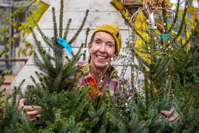 Eva Zegers van boomkwekerij Jan van Vulpen is alvast begonnen om de kas waar kerstbomen zullen worden verkocht in kerstsfeer te brengen.