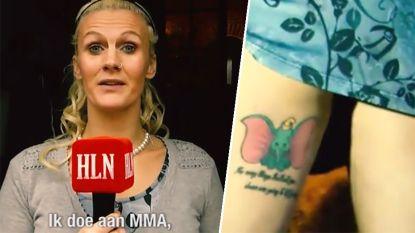 VIDEO: Deze Vlaamse kooivechtster/kleuterjuf laat na elk belangrijk gevecht een Disney-tattoo op haar lichaam zetten