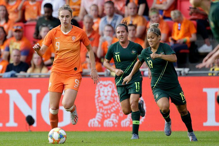 Vivianne Miedema tijdens de wedstrijd tegen Australië, afgelopen zaterdag.   Beeld BSR Agency