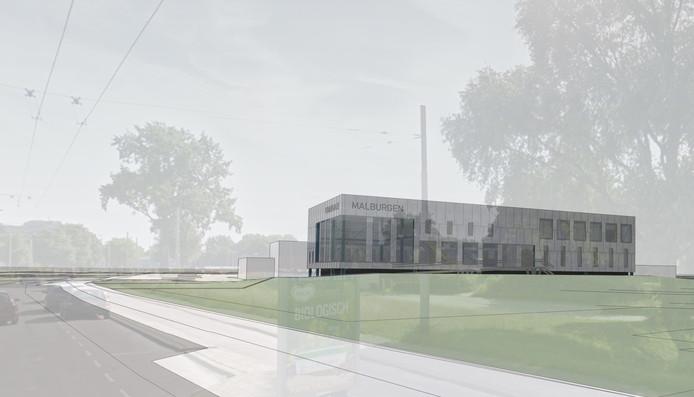 Artist impression van het nieuwe sport- en gezondheidscentrum dat naast zwembad De Grote Koppel in Arnhem-Zuid gaat verrijzen.