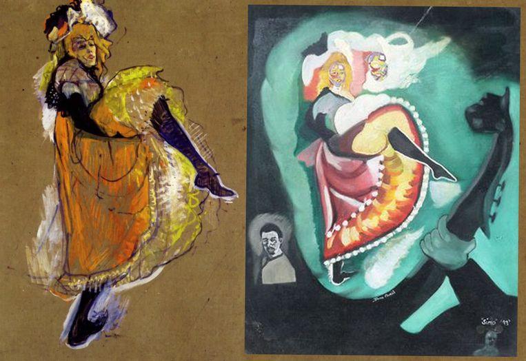 Links het bekende werk van Toulouse-Lautrec 'Jane Avril Dancing', rechts het werk dat van de moordenaar van Helen zou zijn.