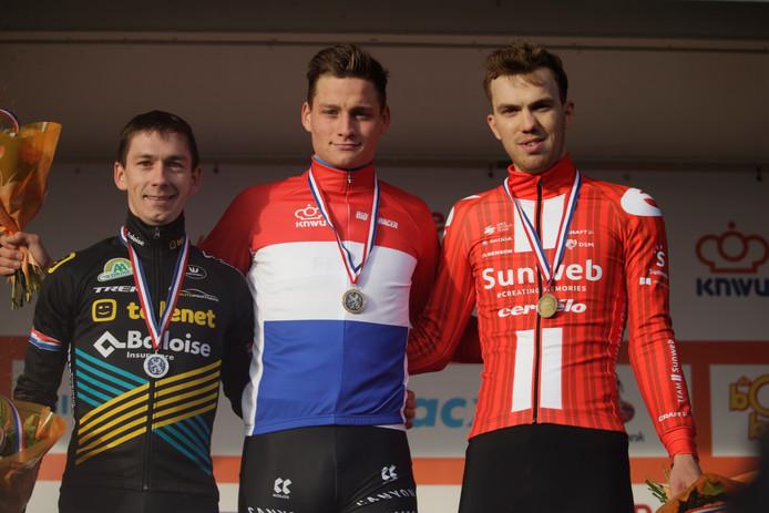 DE top 3 van het NK, vlnr: Lars van der Haar, Mathieu van der Poel en Joris Nieuwenhuis.