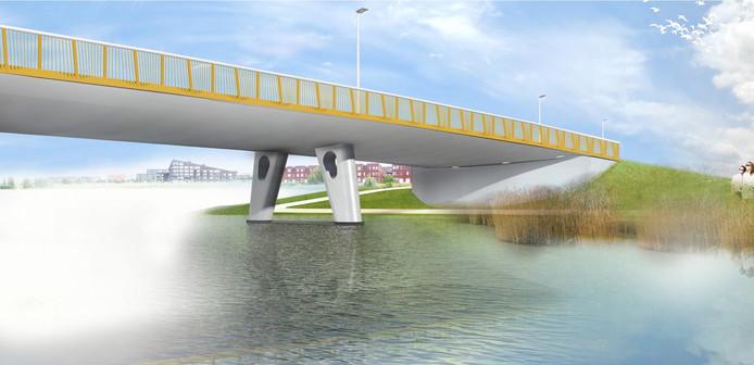 Een schetsontwerp van de brug die over de Groote Wielenplas komt te liggen.