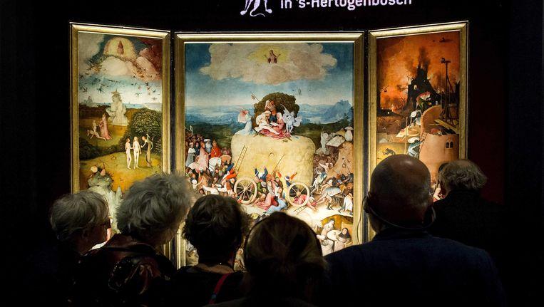 De Hooiwagen van Jheronimus Bosch in het Noordbrabants Museum. Beeld epa