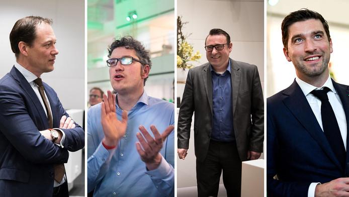 De verkiezingswinnaars (vlnr) Boudewijn Revis (VVD), Richard de Mos (Groep de Mos) en Arjen Kapteijns (GroenLinks). Uiterst rechts Robert van Asten, leider van de derde partij van de stad (D66).
