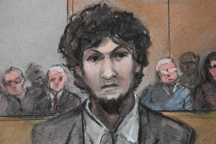 Dzjochar Tsarnajev op een rechtbanktekening uit 2015.