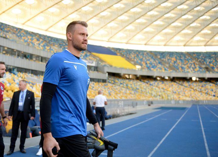 Simon Mignolet au stade olympique de Kiev ce lundi.