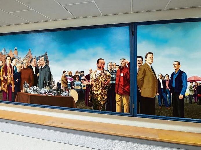 Het prominentenschilderij uit 1998 hangt nu in het Canisius Wilhelmina Ziekenhuis.