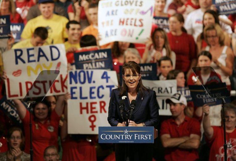 Sarah Palin in Scranton, Philadelphia, 15 oktober. Foto AP/Rich Schultz Beeld