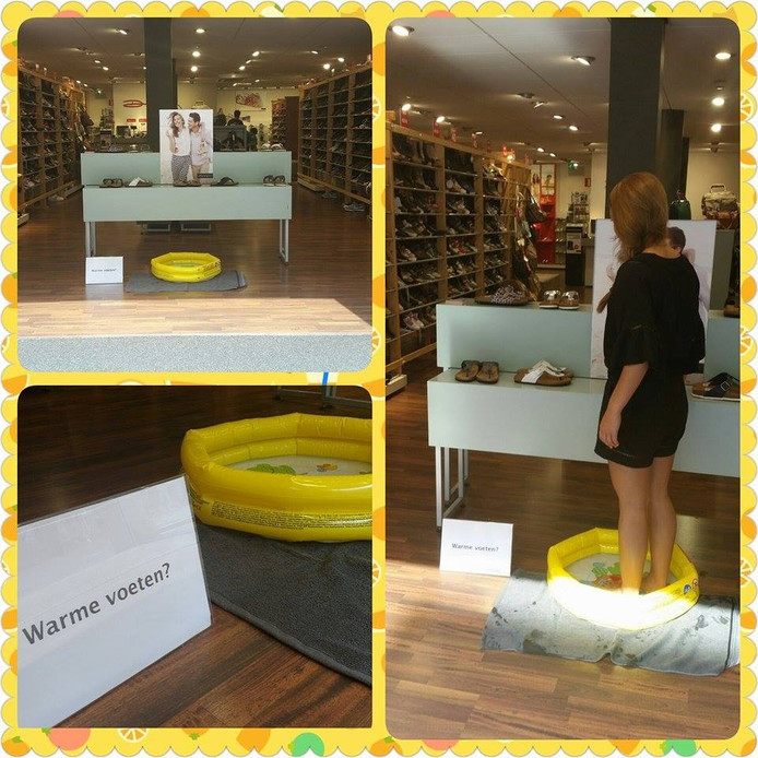 Schoenenzaak Dolcis in Eindhoven biedt klanten met warme voeten een koel badje.