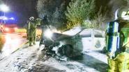 Auto brandt uit na crash tegen elektriciteitspaal in Mullem