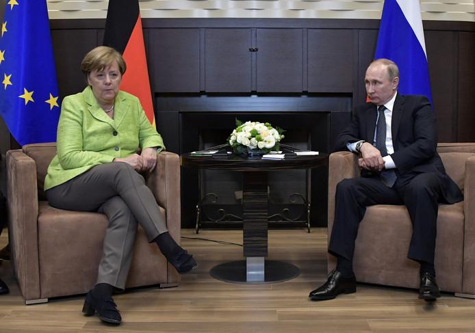 Bondskanselier Merkel en president Poetin.