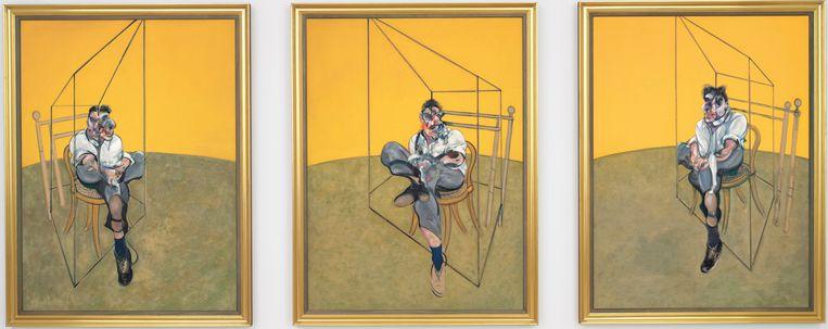 Francis Bacon: 'Three Studies of Lucian Freud', een drieluik uit 1969. Beeld AP