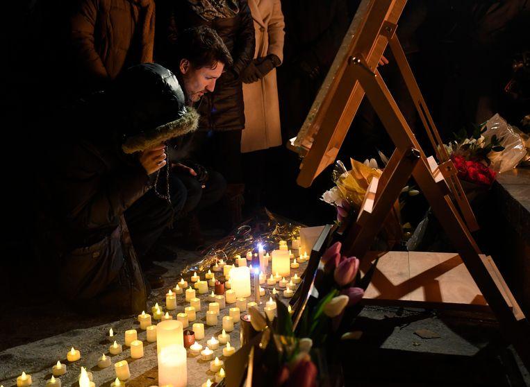 De Canadese premier Justin Trudeau bij een herdenking voor de slachtoffers van de vliegtuigramp in Teheran, Iran.  Beeld AP
