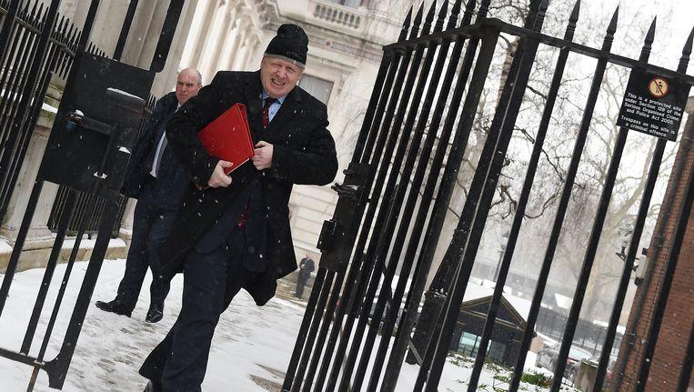 De Britse minister van Buitenlandse Zaken Boris Johnson arriveert donderdag op 10 Downing Street voor overleg met premier May over het Brexit-voorstel van de EU. May al vrijdag een speech geven over Brexit. Beeld null