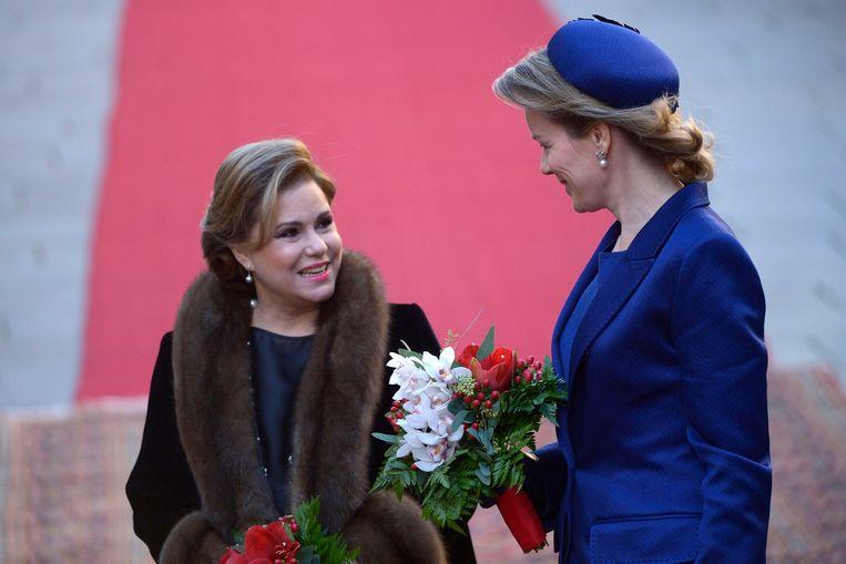 Maria Teresa van Luxemburg en koningin Mathilde.