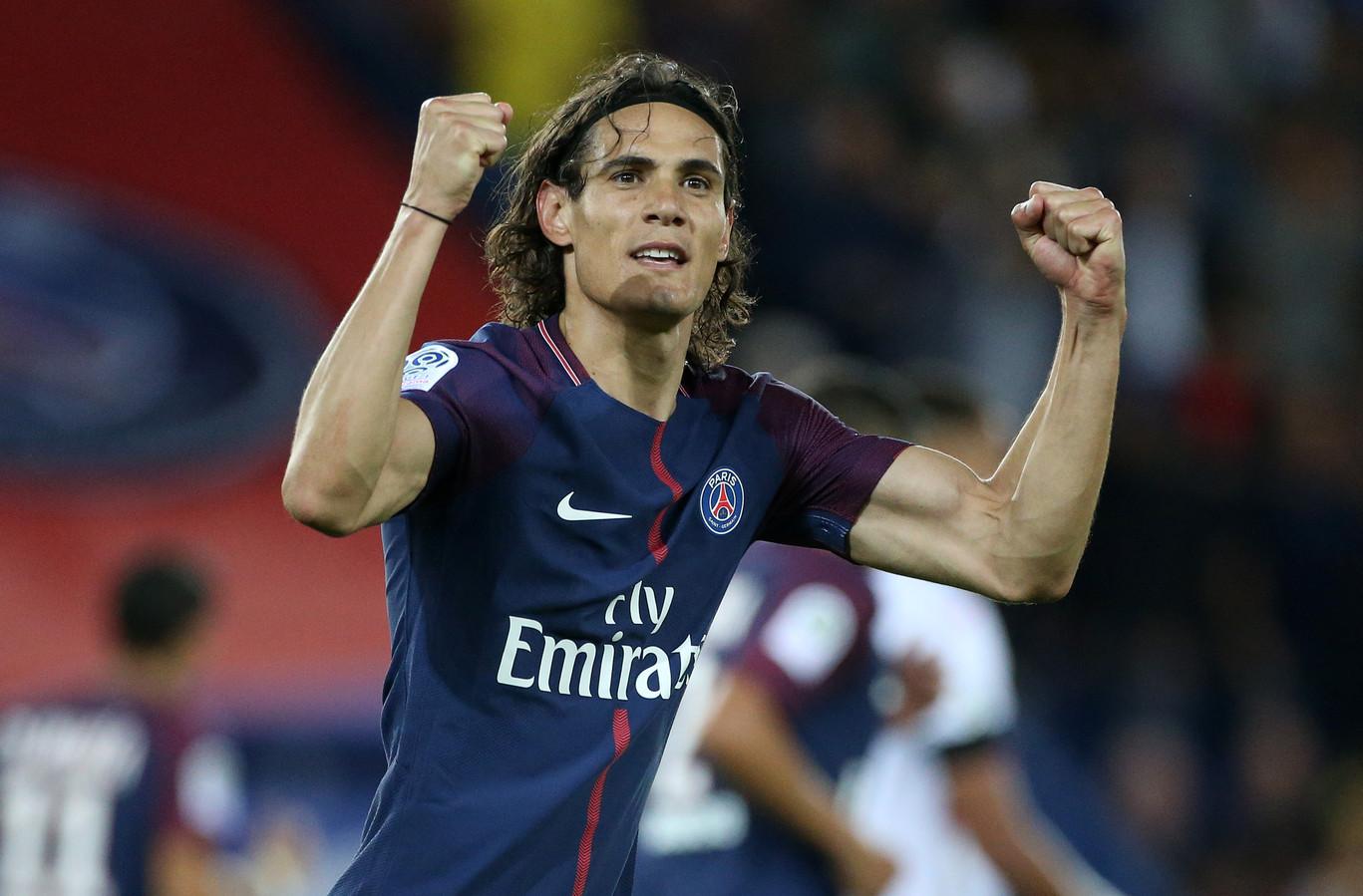 Edinson Cavani in het shirt van Paris Saint-Germain.