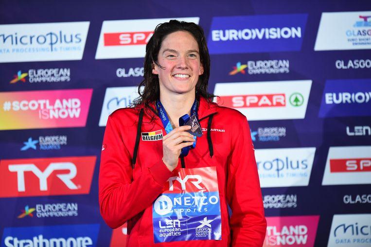 Teleurstellende zwemkampioenschappen, maar niet voor Kimberly Buys. Ze behaalde brons op de 50m vlinderslag.