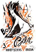 Bokbier-affiche uit 1955 voor De Drie Hoefijzers met ontwerp van beeldend kunstenaar Jan Giesen.