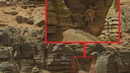 Wat komt er daar uit grot op Mars gekropen?