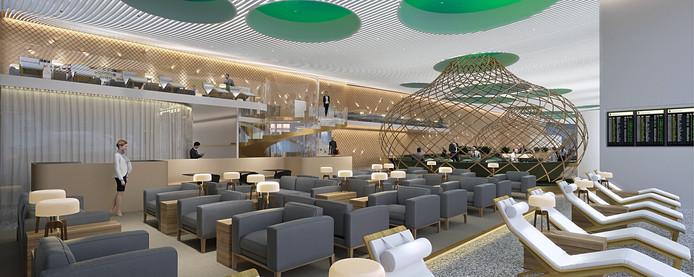 Het ontwerp voor de business lounge.