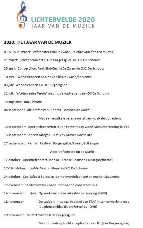 Het (voorlopige) programma van het Jaar van de Muziek in Lichtervelde